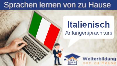 Italienisch Anfängersprachkurs lernen von zu Hause Header